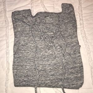 Hollister cross string grey top